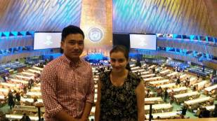 Fnu Duojizhandou and Anasimon Takla at the UN Headquarters for World Humanitarian Day